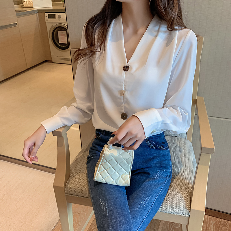 Blouses Women White Shirt Women V Neck Chiffon Blouse Woman Long Sleeve Shirts Tops Casual Woman Solid Blouse Tops Plus Size XXL