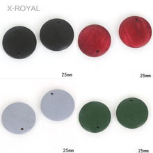 X-ROYAL 20Pcs/lot Black Red Grey Green Color Wooden Pendant Beads DIY Jewelry Findings Fashion Bracelets Earrings Charm
