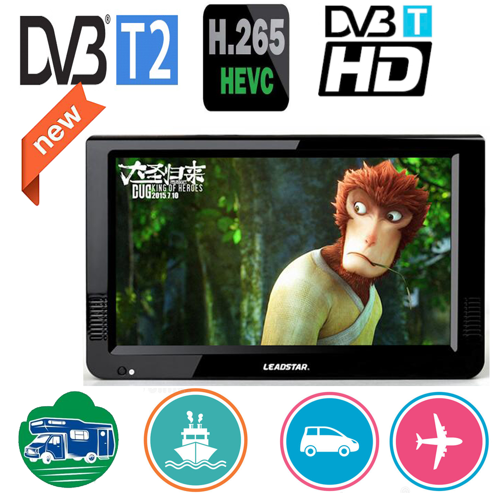 Leadstar 10 Inch DVBT/DVBT2&Analog Portable Mini Tv Support H265/Hevc Dolby Ac3 HDMI INPUT  Used At Home Car Boat Outdoor