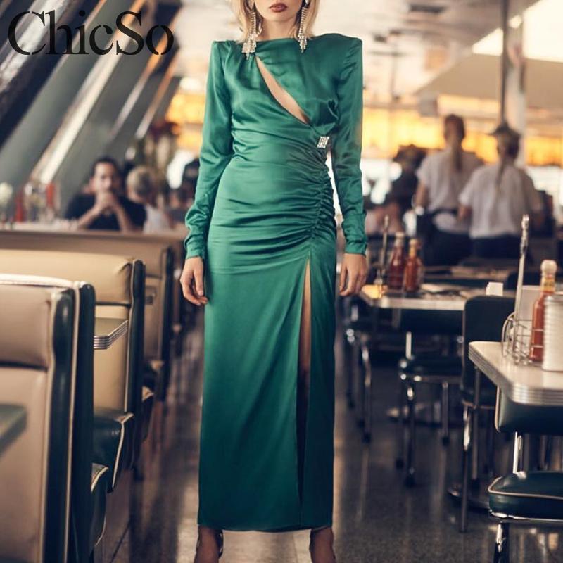 MissyChilli Green Sexy Satin Maxi Winter Dress Women Long Sleeve Hollow Out High Split Dress Elegant Bodycon Autumn Party Dress