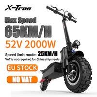X-Tron STOCK europeo T10Pro Scooter 52V 2000W plegable de doble Motor de Scooter eléctrico adultos Max velocidad 65KM/H Libre de impuestos