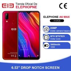 Elephone A6 MAX смартфон, 4 Гб 64 ГБ, 6,53 дюйма, с водосберегающим экраном, фронтальная камера 20 МП, Восьмиядерный отпечаток лица, разблокировка Android 9,0