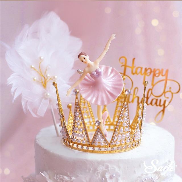 Decoración de Ballet elegante blanca de feliz cumpleaños, Decoración de Pastel para boda, novia y novio, suministros de fiesta para hornear, regalos de amor