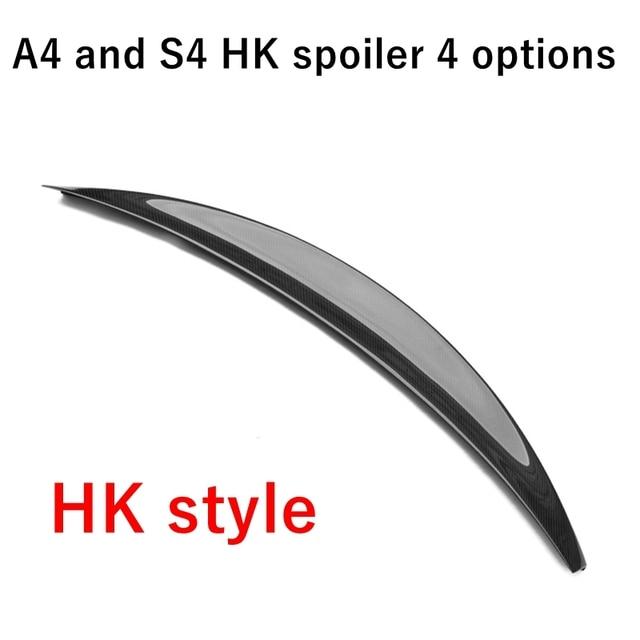 لأودي S4 A4 B8 B8.5 4 أبواب سيدان HK نمط عالية ركلة عالية الجودة ألياف الكربون الخلفي الجناح سقف صندوق خلفي مزخرف سبويلر