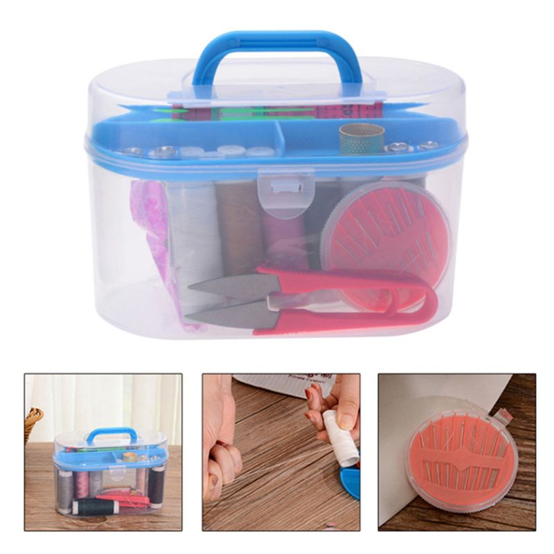 Portable Sewing Thread Needles Tools Set DIY Stitching Embroidery Craft Kit Tape Measure Scissor Buttons With Case Organizer Box