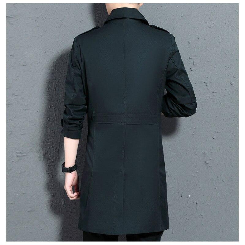 Мужской Тренч, мужское длинное пальто, повседневное, весна осень, длинное тонкое пальто, ветровка, куртки для мужчин, зимний Тренч, пальто дл... - 5
