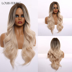 LOUIS FERRE Ombre Brown Blonde Platinum Synthetic Wigs for Black Women Middle Part Long Wave Wig Cosplay Heat Resistant Fibre