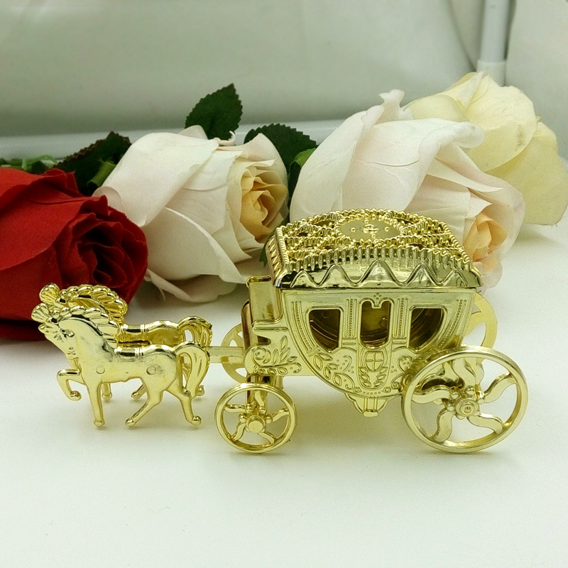 10PCS Married Cinderella Royal Carriage Box Candy Box Plastic Carriage Candy Box Chocolate Gift Box Birthday Wedding Party
