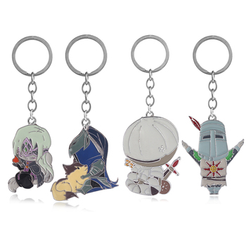 Game Alloy Keychain Abyss Walker Solaire of Astora Knight Badge Keyring Men Car Women Bag Jewelry Accessories image