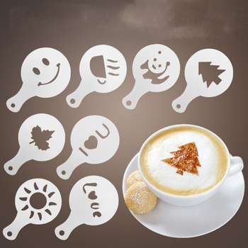 16Pcs Coffee Latte Cappuccino Barista Pull Flower Stencils Cake Templates Printing Lahua Mould Patterns Spray Flower Mold Tools image