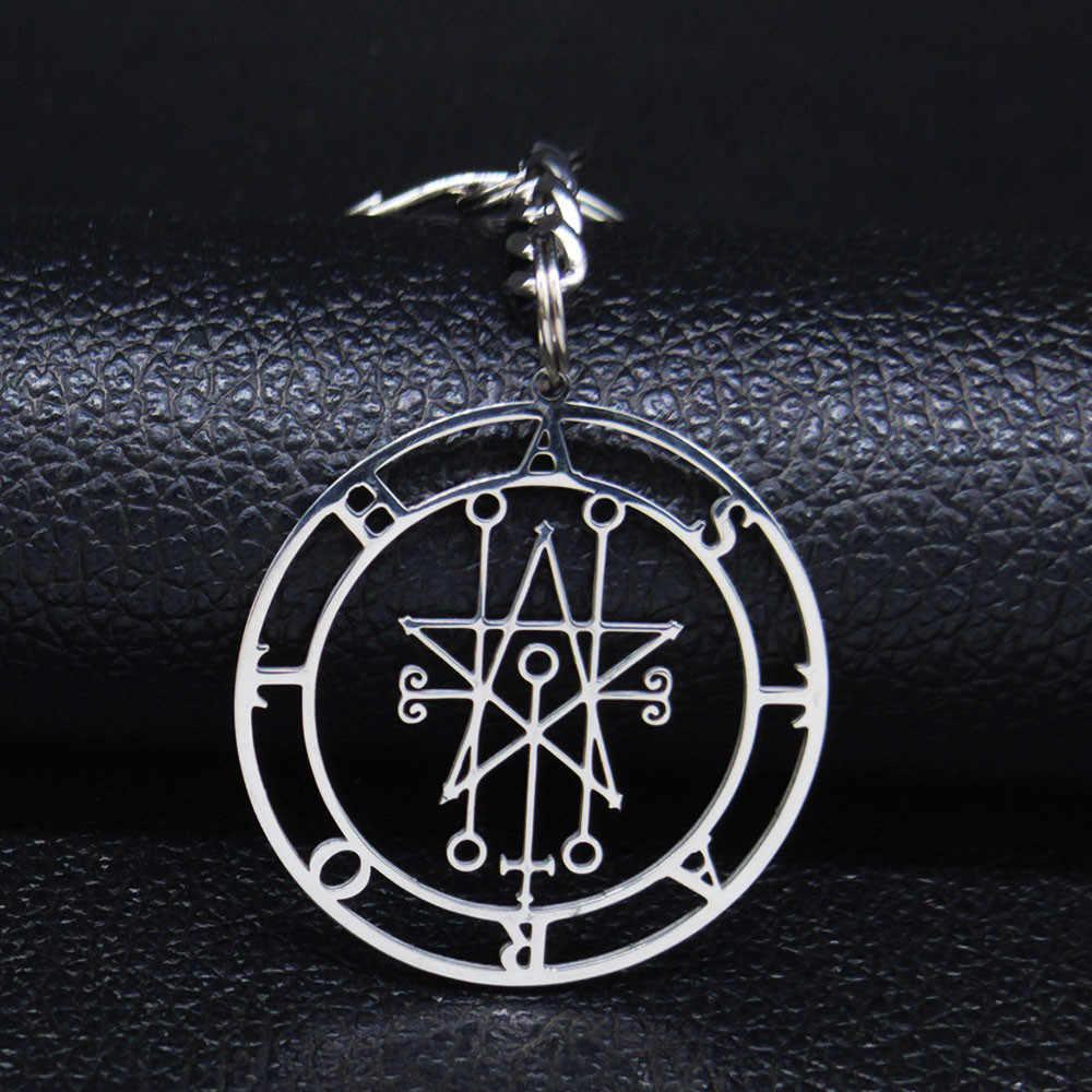 Astaroth Sigil Goetia breloki ze stali nierdzewnej salomon Demon Seal szatan Sigil satanique patch PIN brelok biżuteria llavero N3034