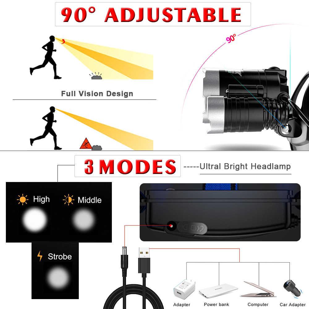 Linterna frontal con Sensor de movimiento corporal de 4000Lm potente linterna frontal LED con linterna de acampada con linterna frontal USB