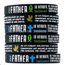 100pcs Power of Faith Bible Verse father fish cross dove Silicone Bracelet wristband Christian Religious Gifts