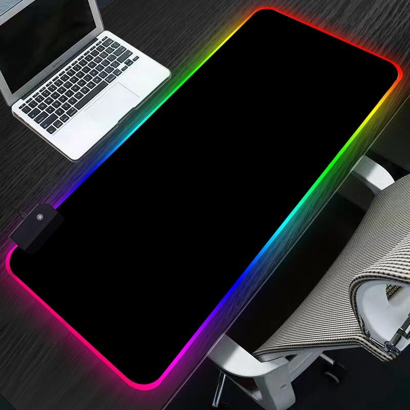 Sovawin RGB Gaming Mouse Pad 80x30cm All Black LED Light Computer Mousepad XL Gamer Desk Mat Pad Non-slip For PC Keyboard Laptop