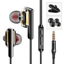 Double Dynamic Earphone Wired Headphones Handfree Phone Earphones for Meizu Sony