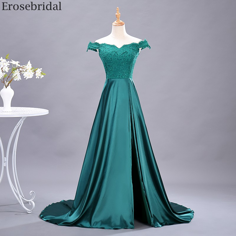 Erosebridal Green Satin Prom Dress Long Off Shoulder Long Formal Evening Gown Lace Body Elegant A Line Evening Dress Small Train