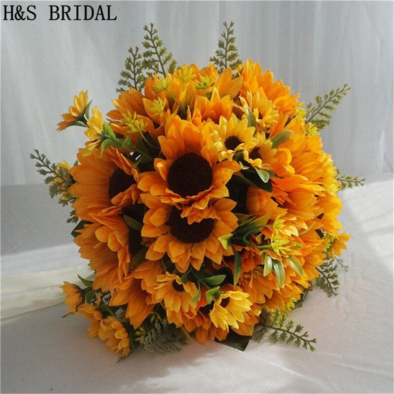 H&S BRIDAL Sunflower Wedding Bouquet Rose Bridal Bouquets Yellow Artificial Wedding Flower Bridesmaid Bouquets Sun Flower 2020