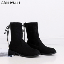 GBHHYNLH Platform winter shoes low heels Boots For Ladies Vintage Short Cowboy Motorcycle Shoes mujer zapato LJA820