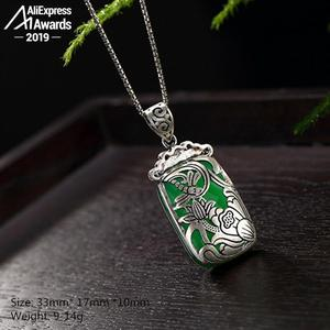 Image 2 - NOT FAKE S925 Fine Antique shop store Pendants Emerald Pendant Luxury Taste Handmade Vintage Natural Chalcedony moldavite perido