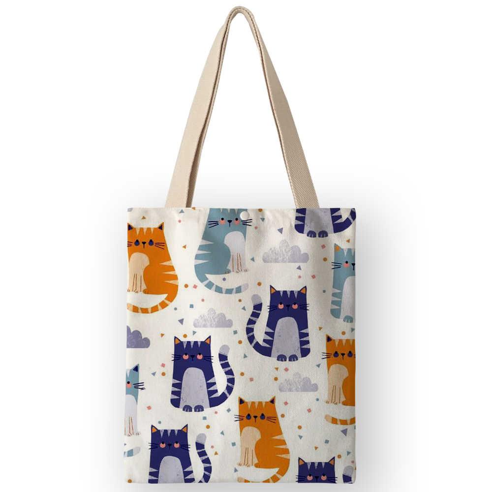 AKB01055 Nette Tausende Katzen Druck Leinwand Handtasche Für Frauen Männer Wiederverwendbare Einkaufstasche Casual Tote Cartoon Druck Schulter Taschen
