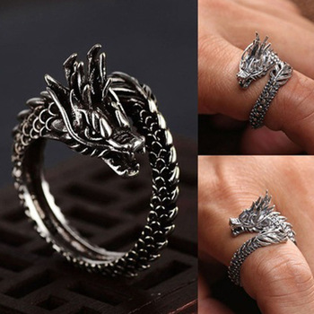 Viking Men Entwined Dragon Ring Norse Mythology Silver Color Odin Dragon Stainless Steel Rings Nordic Amulet Jewelry image