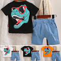 Детский хлопковый спортивный костюм, футболка с коротким рукавом и шорты с принтом динозавра