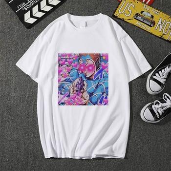 Jojo Bizarre Adventure T Shirt Men T-shirt Anime Cool Graphic Print Japan 2021 Summer Short Sleeve Soft Plus Size Tee Top Edgy