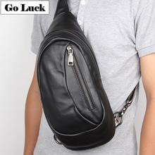 цена на GO-LUCK Brand Casual Genuine Leather Sling Chest Travel Pack Men's Crossbody Shoulder Bag Men Cowhide Messenger Bags Black