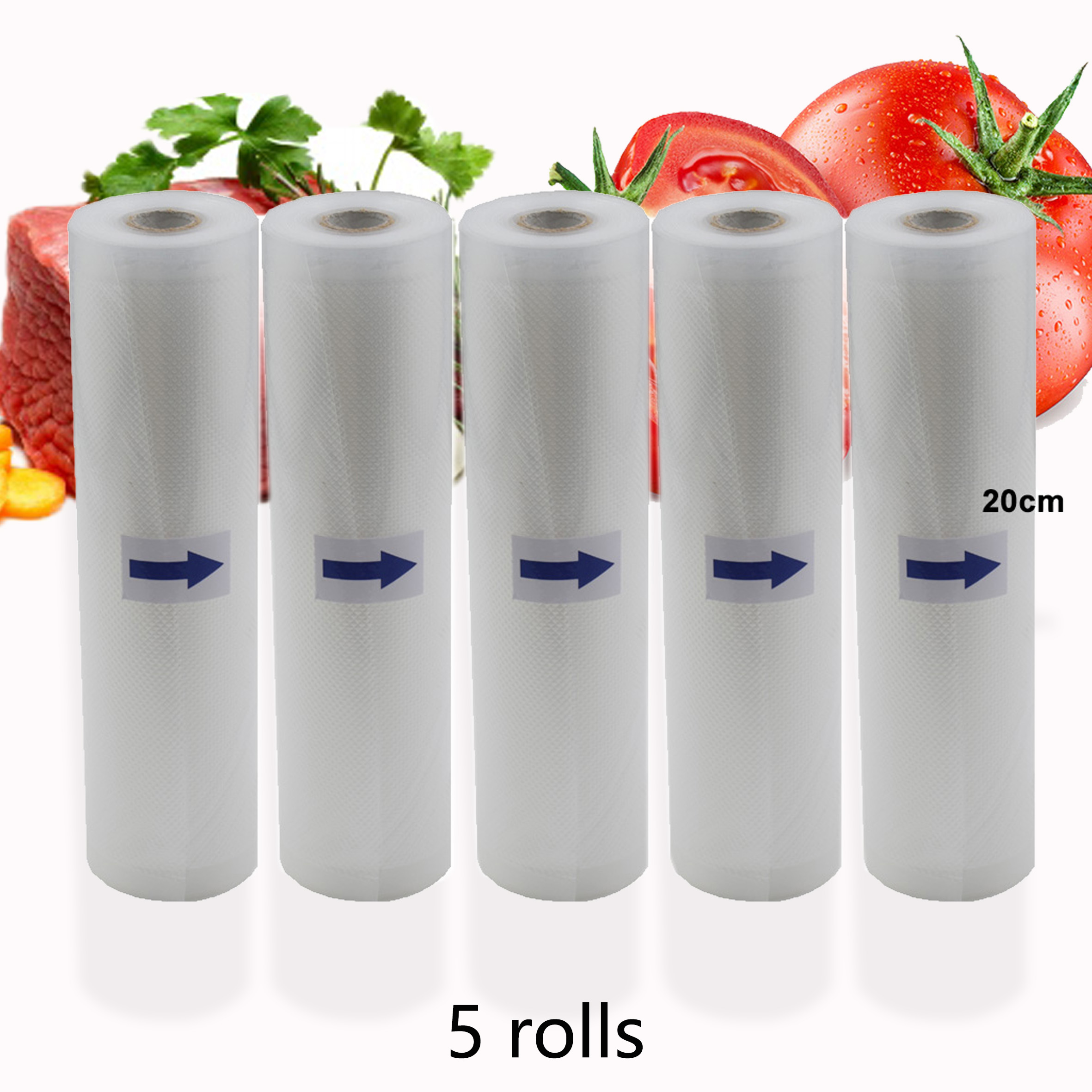 BPA FREE 5Rolls/Lot Kitchen Food Vacuum Bag Storage Bags For Vacuum Sealer Vacuum Packaging Rolls 12/15/20/25/28cm*500cm(China)