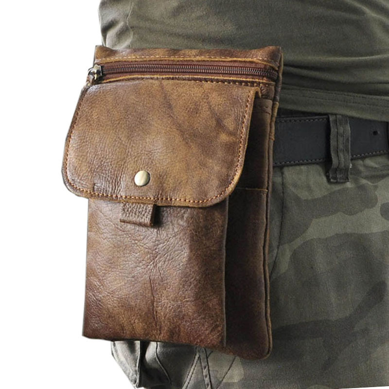 Men Leather Cowhide Messenger Shoulder Cross Body Bag Cell/Mobile Phone Case Pocket Purse  Hip Belt Fanny Waist Pack