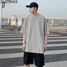 ZAZOMDE T-shirt estiva tinta unita moda uomo Casual T-shirt in cotone uomo Streetwear maglietta a maniche corte allentata selvaggia uomo M ~ 5XL
