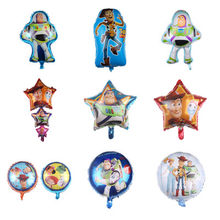 1 pçs brinquedo história buzz lightyear balão da folha dos desenhos animados 32 polegada azul número da folha de alumínio balões crianças festa decoração suprimentos