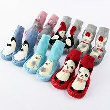 Calcetines de algodón con suela de goma para bebé recién nacido, calcetín divertido