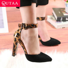 QUTAA 2020 Women Pumps Leopard PU Leather Flock Sandals Square High Heels Pointed Toe Buckle Fashion Summer Women Shoes 34-43(China)