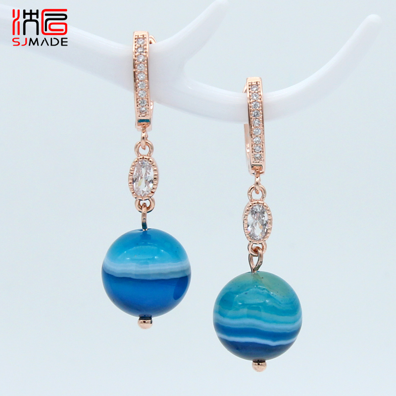 SJMADE New Round Natural Blue Banded Agates Cubic Zirconia Dangle Earrings 585 Rose Gold For Women Girl Wedding Party Jewelry