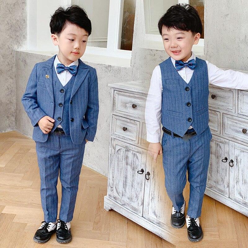 Children Formal High Quality Suit Sets Flower Boys Blazer Vest Pants Clothing Sets Kids Wedding Party Piano Perfomance Costume
