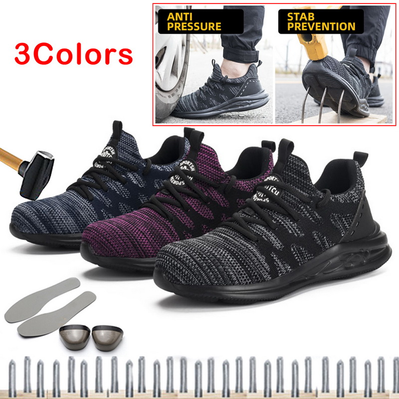 DIHOPE Steel Toe Safety Working Shoes With Steel Toe Cap Men Indestructible  Ryder Shoes Breathable Tennis Sneakers