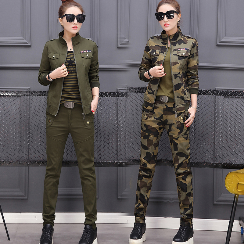 Plus Size Green Camouflage Suit Women 2 3 Piece Set Outfits Co-ord Top Pant Winter Autumn Clothing Costume Cotton Military