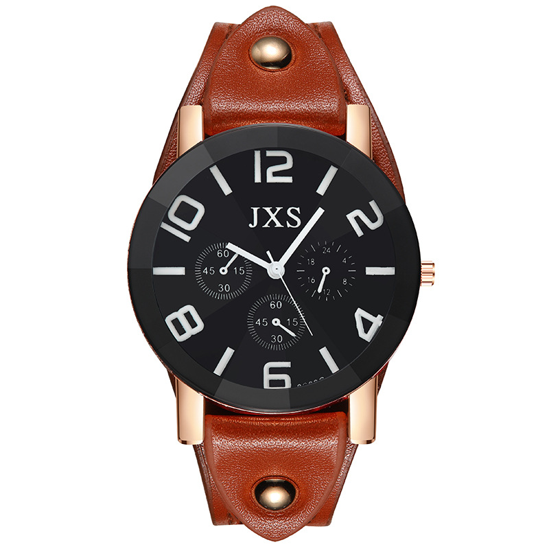 Fashion & Casual Big Dial Couple Watches Men Sports Watch Women Leather Strap Watch Dropshipping Big Number Neutral Watches