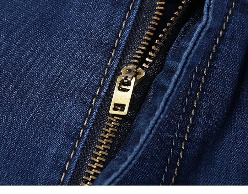 KSTUN Summer Denim Shorts Jeans Men Blue Slim Straight Business Casual Knee Length Shorts High