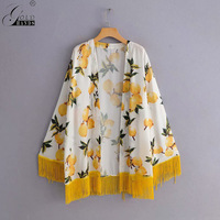 Gold Hands Summer Holiday Beach Ladies Blouse Shirts Bohemian Floral Print Kimono Women Cardigan Chiffon Tassel Flare Sleeve
