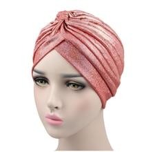 Women's fashion shiny shiny silk turban soft shiny twisted turban hat chemical cap headband headdress for women's cap