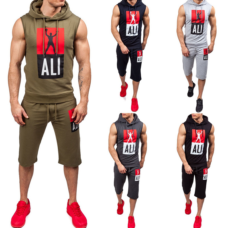 Summer Hot Selling Men's Outdoor Fitness Sleeveless Sports Hoodie Europe And America Men Printed Hooded Vest Suit Large Size