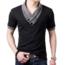 New Plus Size Summer Mens T-Shirts Fashion 2021 Slim Short Sleeve Patchwork V Neck Cotton Black T Shirt Men Button Tops & Tees