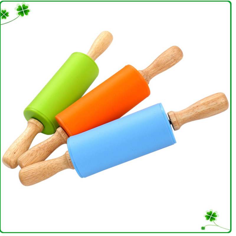 Non-Stick Silicone Rolling Pin WoodenHandle Cake Baking Cooking Roller Tool Pastry Dough Flour Roller Kitchen Rolling Pin Crafts