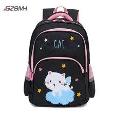 Children Backpacks Waterproof School Bags Black Cat Pringting Blue Bookbag Mochila for Teenager Girls Students Woman Daypack Bag