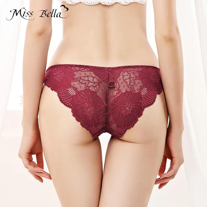 Women Transparent Lace Briefs Low Waist Underwear Lingerie Underpants Panties
