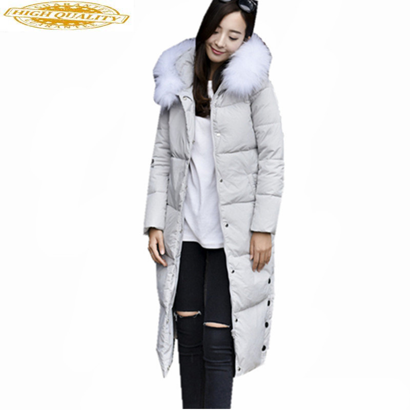 2019 Winter Jacket Women Fur Collar White Duck Down Jackets Hooded Women's Parka Slim Woman Coat Casaco Feminino WXF415