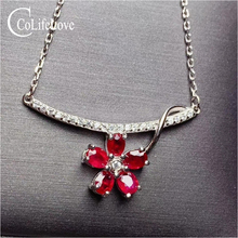 CoLife Jewelry Fashion 925 Silver Flower Necklace for Daily Wear 5 Pieces Natural Ruby Necklace Birthday Gift for Woman чайник росинка эч 0 5 0 5 220 ruby