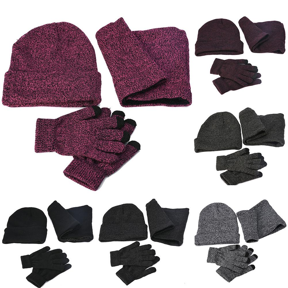 3Pcs Fashion Unisex Winter Fall Solid Color Cuffed Knitted Hat Gloves Scarf Set Women Men Accessories